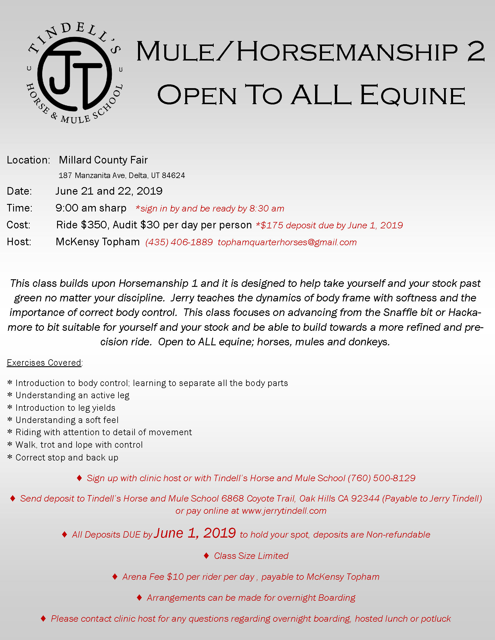 Mule/Horsemanship 2 - Open To ALL Equine - Jerry Tindell